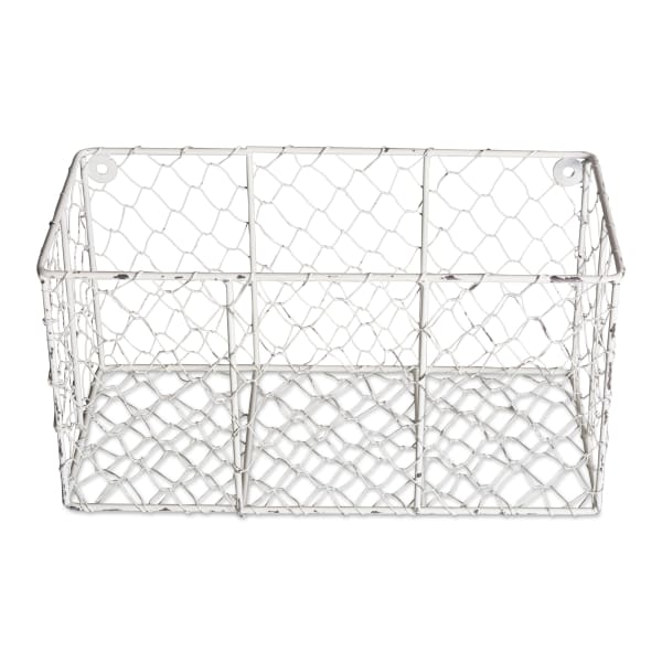 Wall Mount Chicken Wire Basket(Set of 2) Antique White S/M