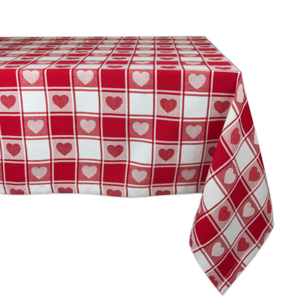 Red Hearts & Check Tablecloth