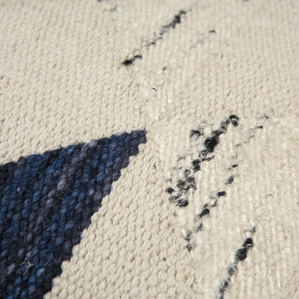 Geometric Indigo Wool Pillow Cover