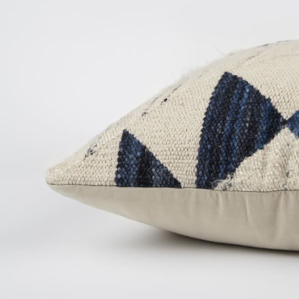 Geometric Indigo Wool Throw Pillow