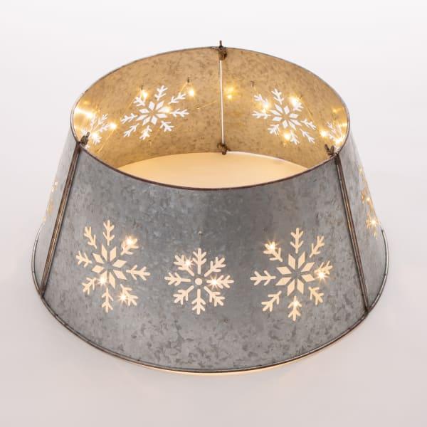 LED Light-Up Snowflake Cutout Galvanized Tree Collar