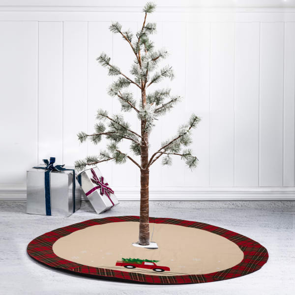 Red Truck Tree Skirt with Rustic Plaid Trim