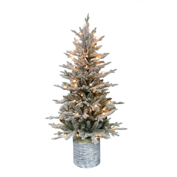 4.5' Potted Pre-Lit Flocked Artificial Christmas Tree