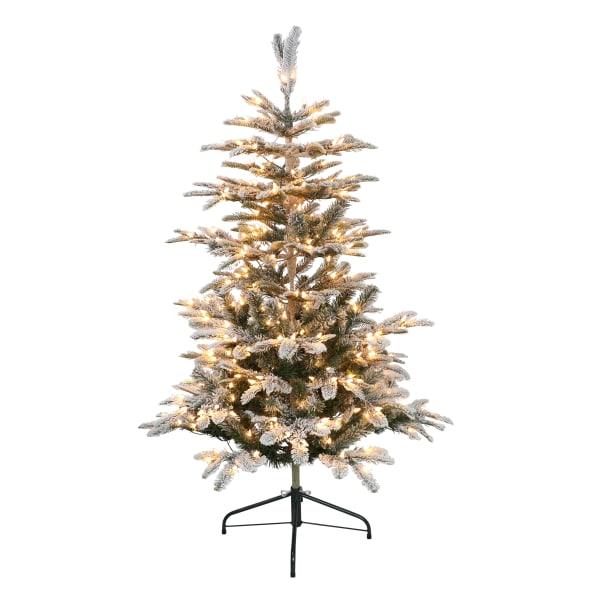 4.5' Pre-Lit Flocked Aspen Artificial Christmas Tree