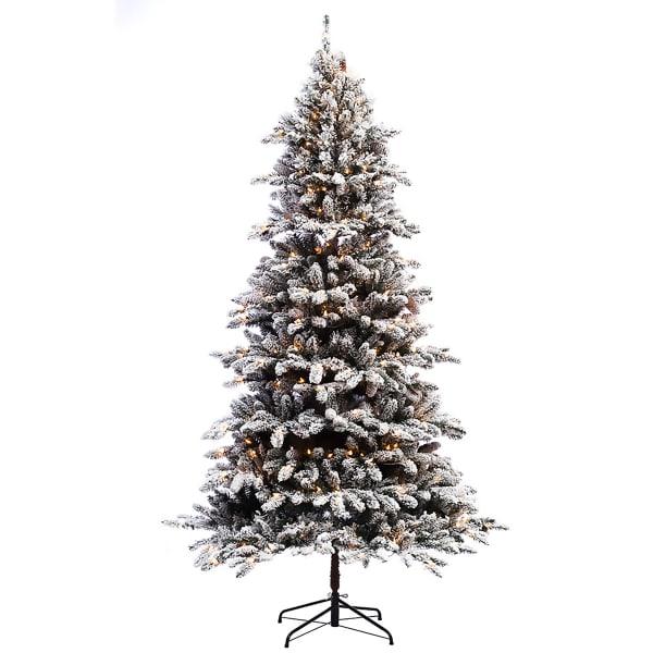 6.5' Pre-Lit Flocked Bennington Fir Artificial Christmas Tree
