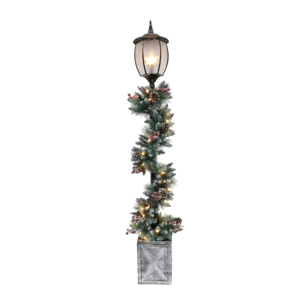 7' LED Light-Up Lamp Post with Garland