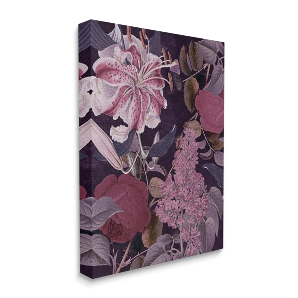 Vintage Purple Bohemian Floral Illustration Stretched Canvas Wall Art by Daphne Polselli 16 x 20
