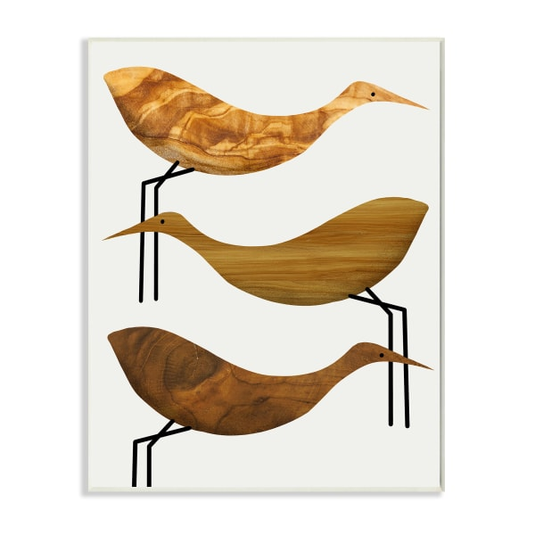 Abstract Wooden Pattern Storks Rustic Birds Wall Plaque Art by Daphne Polselli 10 x 15