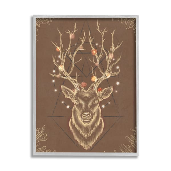 Rustic Deer Antlers Abstract Geometric Sketch Gray Framed Giclee Texturized Art by Ziwei Li 11 x 14