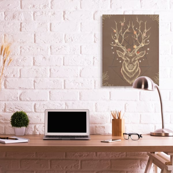 Rustic Deer Antlers Abstract Geometric Sketch XXL Stretched Canvas Wall Art by Ziwei Li 30 x 40