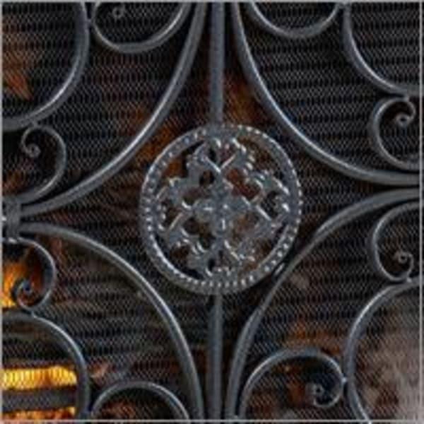 Silver & Black Fireplace Screen
