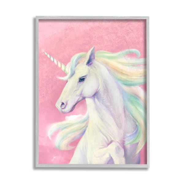 Pink Unicorn Portrait Playful Rainbow Hair Gray  Framed Giclee Texturized Art