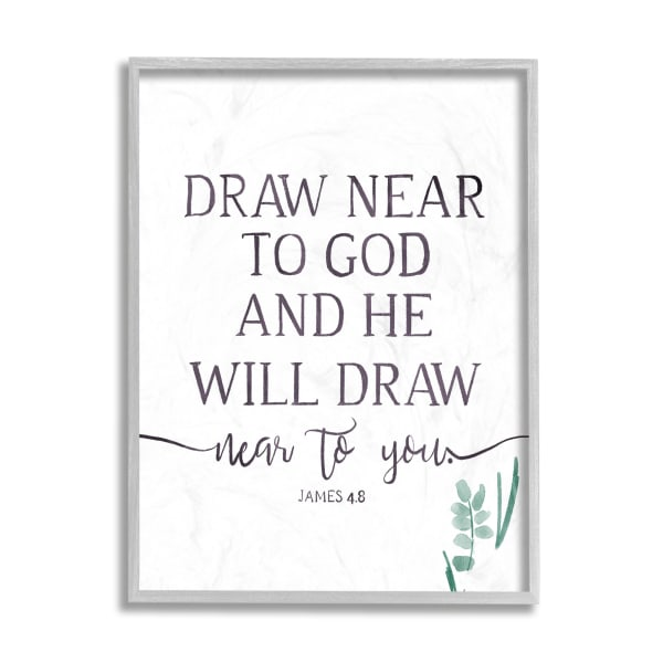 He Will Draw Near Faith Phrase Green Sprout Gray Framed Giclee Texturized Art