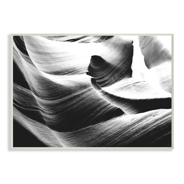 Abstract Canyon Edge Smooth Rock Black White Oversized Wall Plaque Art by Daphne Polselli 13 x 19