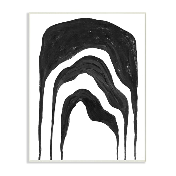 Abstract Black Arches Organic Smoke Shape Oversized Wall Plaque Art by Daphne Polselli 13 x 19
