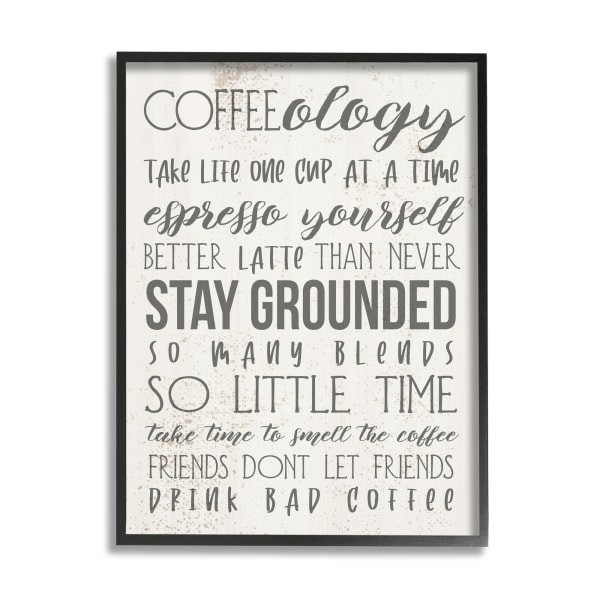 Coffee-Ology Motivational Life Puns Kitchen Humor Black Framed Giclee Texturized Art by Daphne Polselli