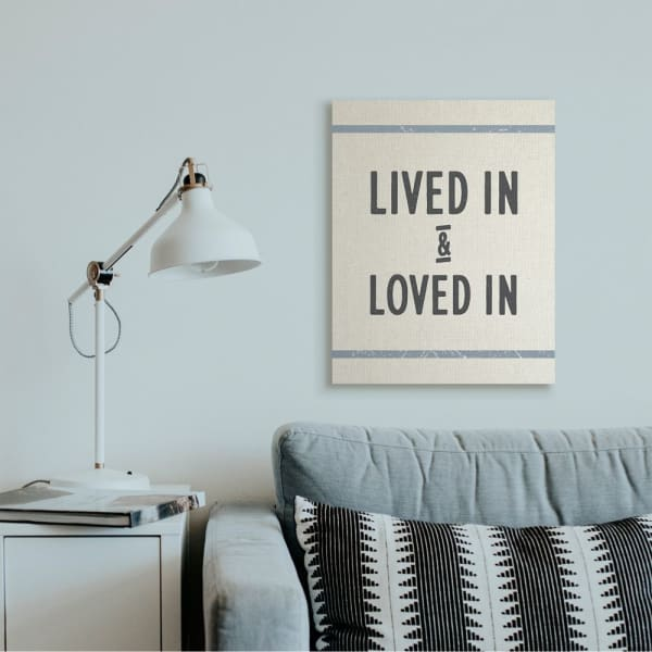 Lived In Loved In Phrase Blue Bistro Stripe Oversized Stretched Canvas Wall Art by Daphne Polselli 24 x 30