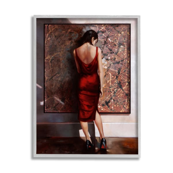 Red Dress Female Standing Glam Pose Gray Framed Giclee Texturized Art by Ron Di Scenza 11 x 14