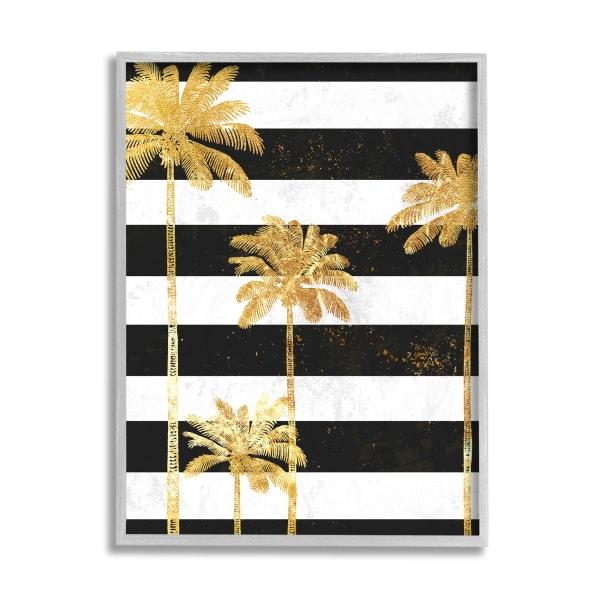 Golden Palm Trees Bold Black White Stripes Gray  Framed Giclee Texturized Art by Ziwei Li 11 x 14