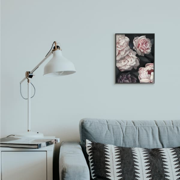 Clustered Pink and White Florals Elegant Flowers Black Framed Giclee Texturized Art by Ziwei Li 11 x 14