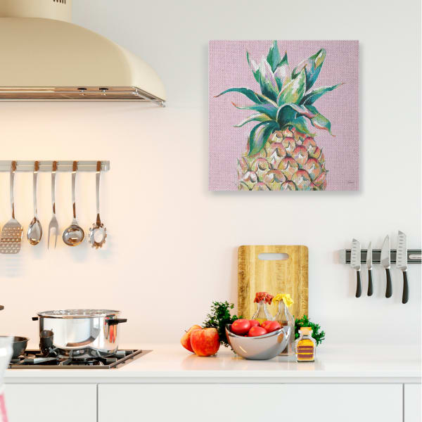 Cropped Pineapple Composition Pink Color Pop XXL Stretched Canvas Wall Art by Patricia Pinto 36 x 36