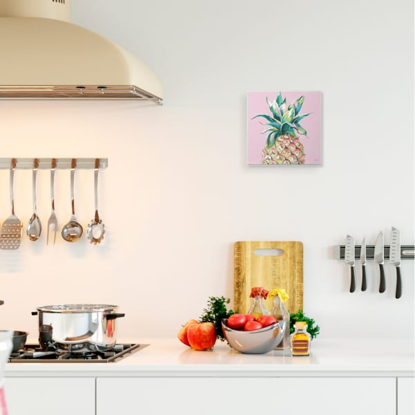 Cropped Pineapple Composition Pink Color Pop Wall Plaque Art by Patricia Pinto 12 x 12