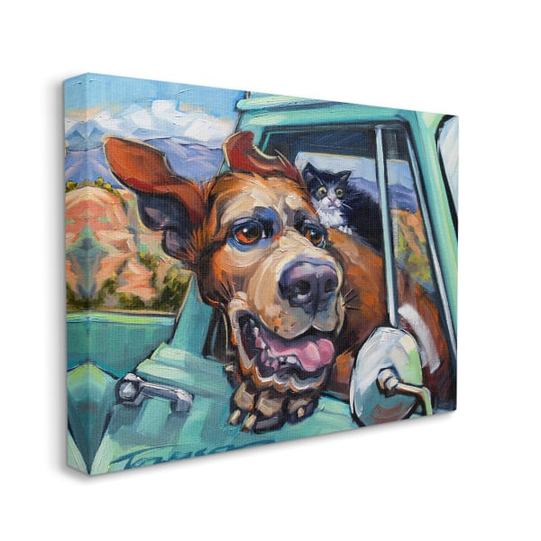 Cat and Dog in Truck Window Wild Ride Super Oversized Stretched Canvas Wall Art by CR Townsend 36 x 48
