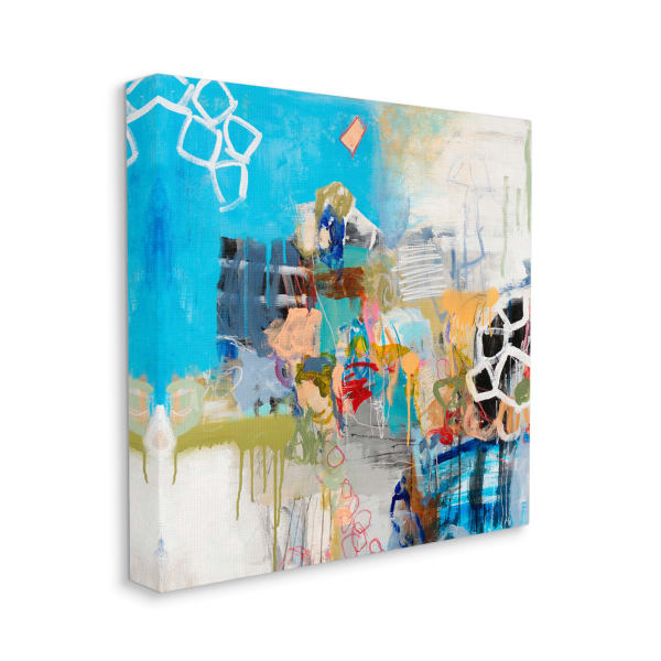 Vibrant Square Collage Abstraction Energetic Design Wall Art