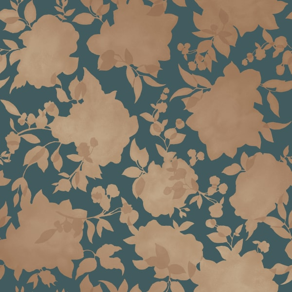 Silhouette Blue & Gold Self-Adhesive Removable Wallpaper Double Roll