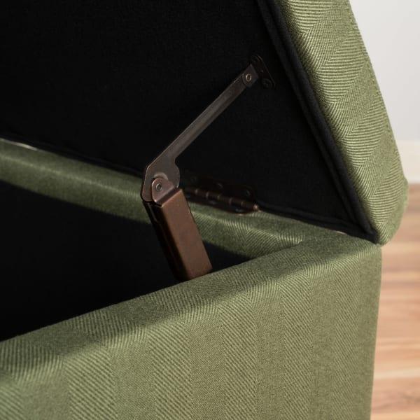 Moss Fabric Storage Ottoman