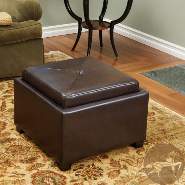 Brown Tray Top Storage Ottoman