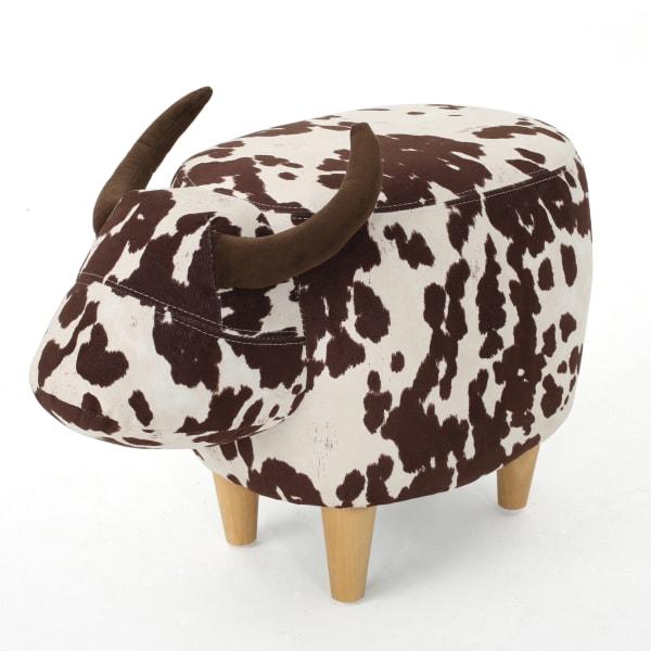 Kids Brown Velvet Cow Ottoman