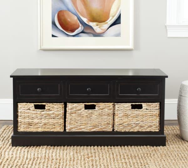 Wyatt Black 3-Drawer Storage Bench