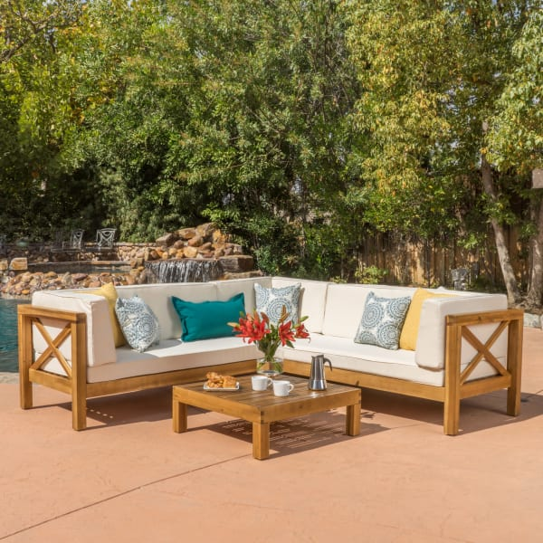 4-Piece Wooden Sectional Set with Beige Cushions