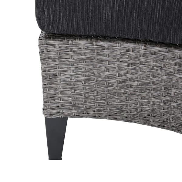 5-Piece Black Wicker Set with Dark Gray Fabric Cushions