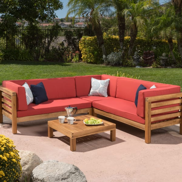 4-Piece Outdoor Sectional Set with Red Cushions