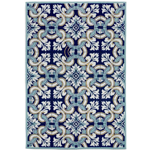 Blue Floral Tile Outdoor Rug 7'6