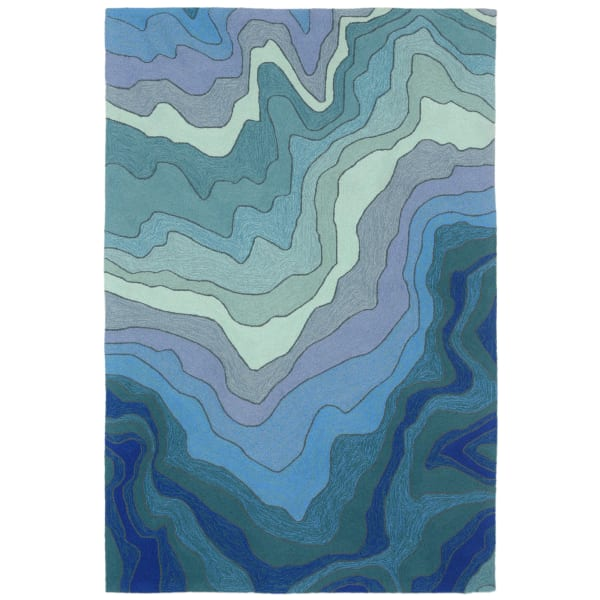 Blue Abstract Outdoor Rug 3'6