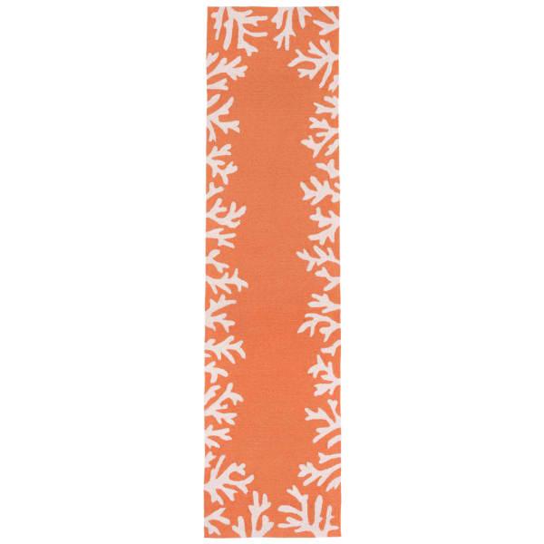 Orange Coral Border Outdoor Rug 2' x 8'