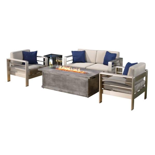 Khaki Aluminium Set & Anchorage Gray Fire Table