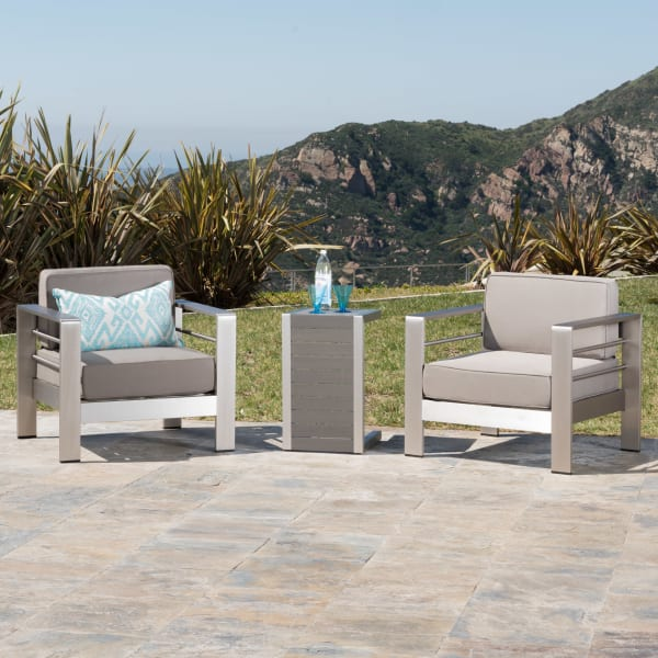 Outdoor Club Chairs with Wood Side Table