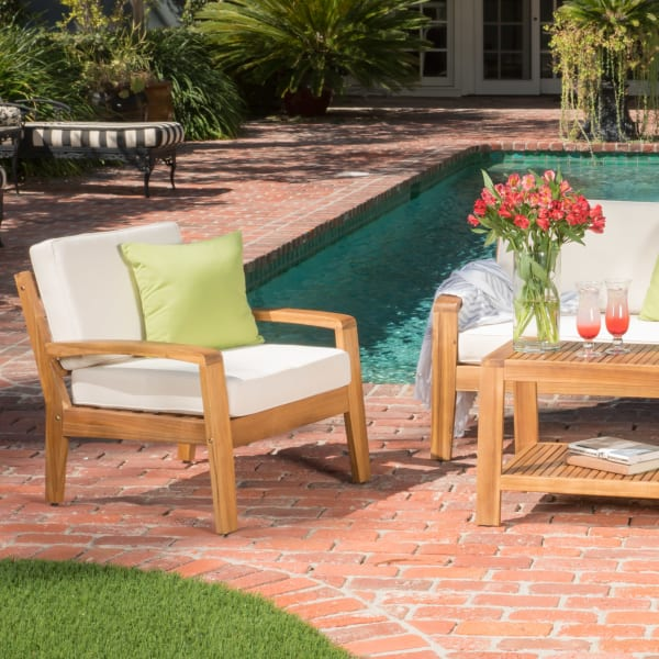 4-Piece Outdoor Wooden Chat Set with Beige Cushions