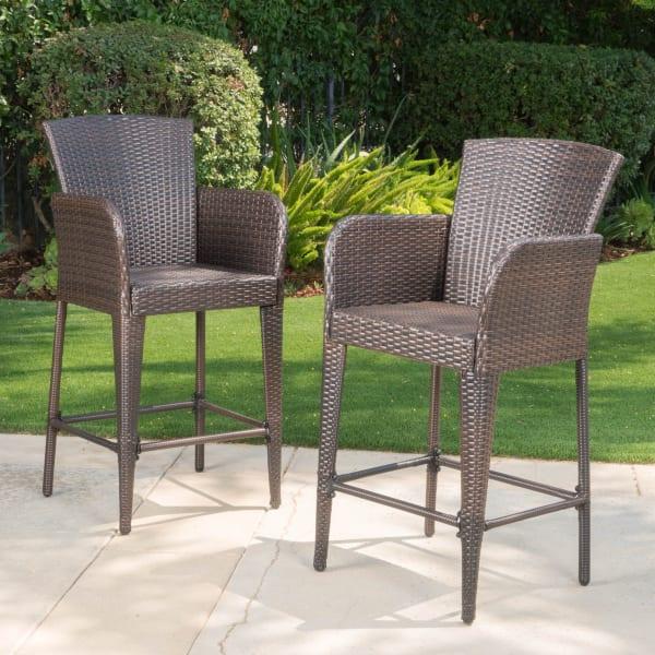 Multibrown Wicker Barstools Set of 2