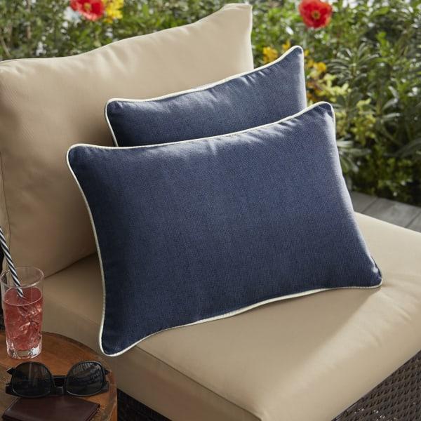 Sunbrella Corded Set of 2 in Spectrum Indigo with Canvas Natural Outdoor Pillow