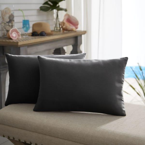 Sunbrella Knife Edge Set of 2 in Canvas Black Outdoor Pillow