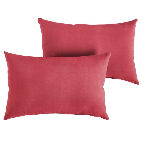 Sunbrella Knife Edge Set of 2 in Dupione Crimson Outdoor Pillow