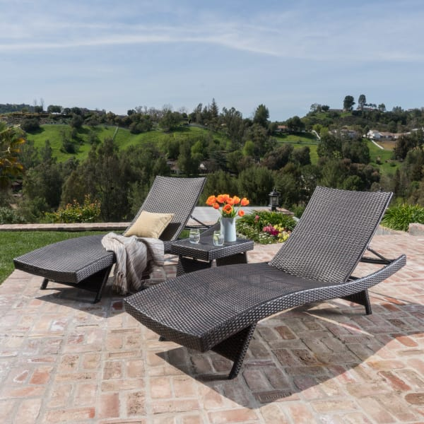 Brown Outdoor Chaise Lounges with Side Table, 3-Piece Set