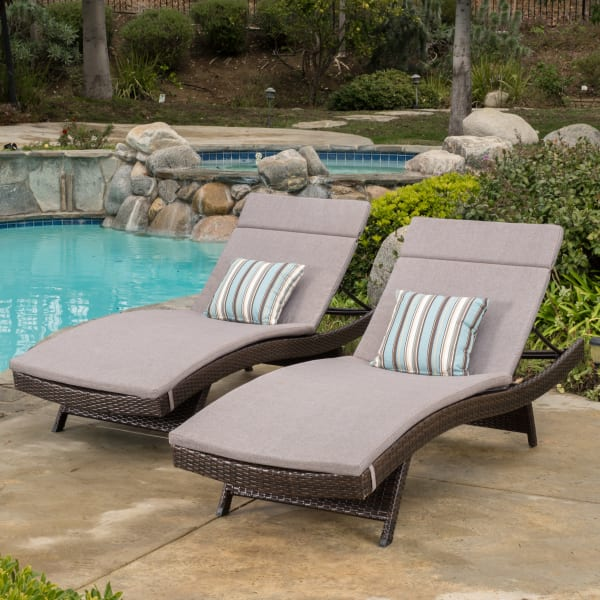 Brown Chaise Lounge with Charcoal Cushions