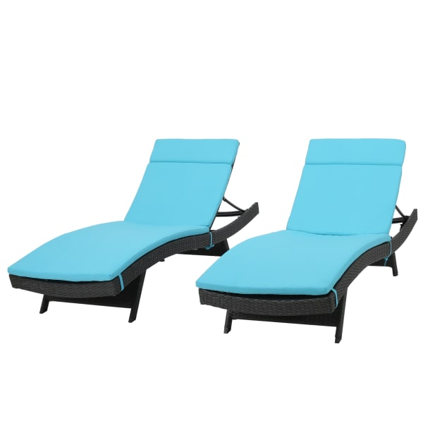 Gray Chaise Lounge with Blue Cushion Set of 2