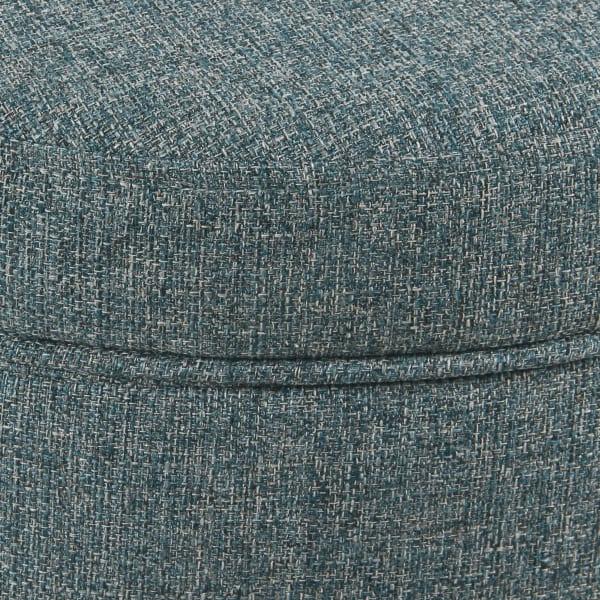 Round Teal Tweed Storage Ottoman